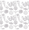 birds flowers seamless pattern vector image
