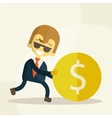 cheerful businessman rolls coin vector image