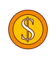 dollar coin currency cash money bank vector image