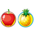 Red apple and pineapple on round badges vector image vector image