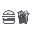 Hamburger and fries icons vector image
