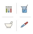 Chemical lab equipment icons vector image