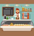 coffee shop interior seller bakery taste sweets vector image