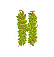 letter h english alphabet made of tree branches vector image