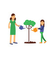 mother and kid girl cartoon characters growing and vector image
