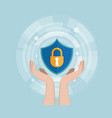 network security concept human hand with shield vector image