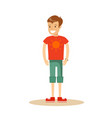 portrait of teenaged boy in shorts and t-shirt vector image