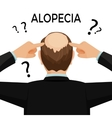 Alopecia concept Man is showing his hairloss nape vector image