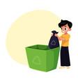 boy putting garbage bag into trash bin waste vector image