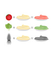 Assorted color pasta Spaghetti and spinach-green vector image