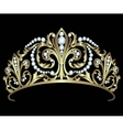 Gold diadem with diamonds vector image
