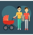 Father with a Baby Carriage Banner vector image