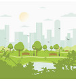 city park against high-rise buildings landscape vector image