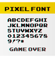 Pixel font with 39 symbols and text game over - vector image