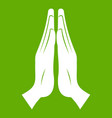 prayer icon green vector image
