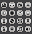 set of 16 editable media icons includes symbols vector image