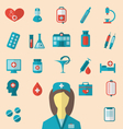 set trendy flat icons of medical elements and vector image