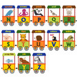 train alphabet with animals n to z vector image