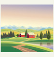 mountain landscape with the houses and mountains vector image