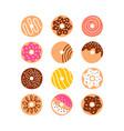 Doodle donuts set vector image
