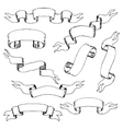 Collection of vintage hand-drawn ribbons vector image