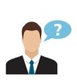 Businessman with speech communication bubble vector image