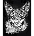 Vintage ornate cat head with floral collar vector image