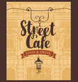 banner for street cafe on background of old house vector image