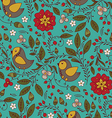 Bird plant and flower on turquoise background vector image