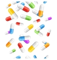 Falling Pills Color Capsules Background vector image