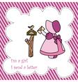Little Girl Send Letter Card vector image