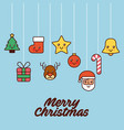 merry christmas card greeting tree gift santa bell vector image