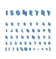 Blue isometric font isolated on white vector image