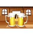 A table with two mugs of beer vector image