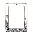 Sketch tablet computer with curls doodle ornament vector image