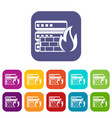 database and firewall icons set vector image