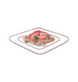 noodles with shrimp isolated icon vector image