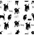 seamless pattern with dog silhouettes vector image