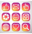 Set of icons for social network vector image