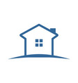 simple blue land house vector image