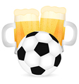 two mugs of beer and a soccer ball vector image
