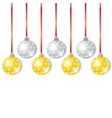 Gold and Silver Christmas Balls vector image