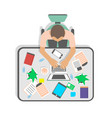 top view workplace of businessman in office vector image