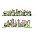 cartoon hand drawing city and trees with color on vector image
