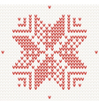 Red knitted snowflake Seamless vector image