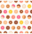 Doodle donuts pattern on white background vector image