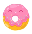 cute smiling donut cartoon food vector image