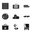 Refugee status icons set simple style vector image