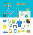 interior laundry room with furniture and part set vector image
