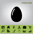 chicken egg sign  black icon at gray vector image